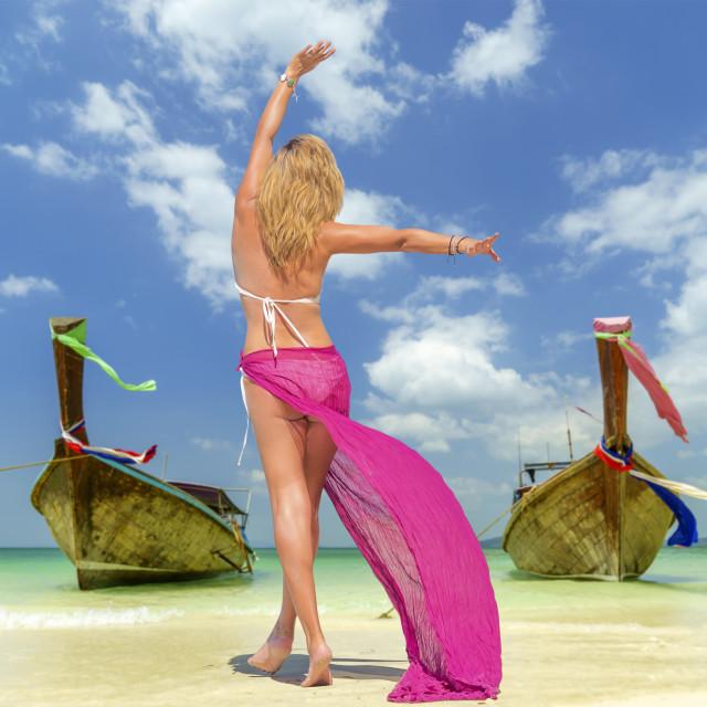 """Woman on Tropical beach"" stock image"