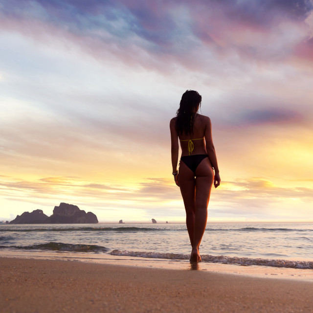 """""""walking on the beach at sunset"""" stock image"""