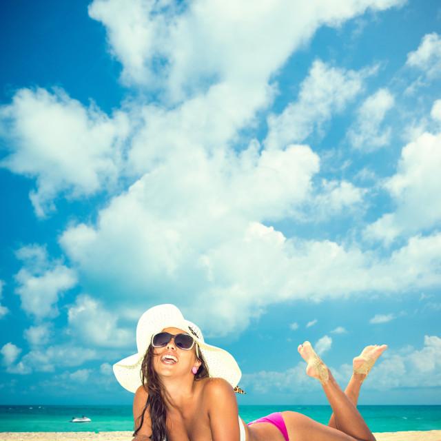"""Beautiful Woman at the beach"" stock image"