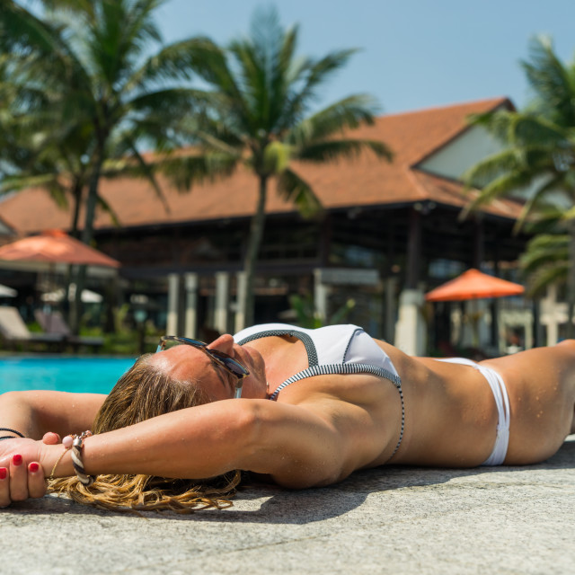 """""""Woman with hat at the pool"""" stock image"""
