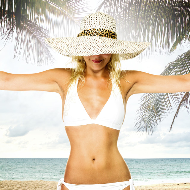 """""""woman in hat on the beach"""" stock image"""