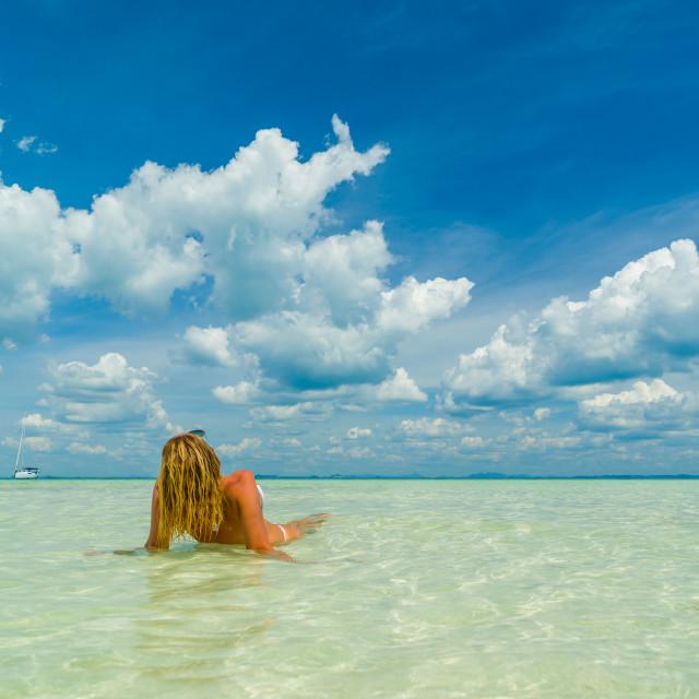 """woman on the Thai beach of Poda island"" stock image"