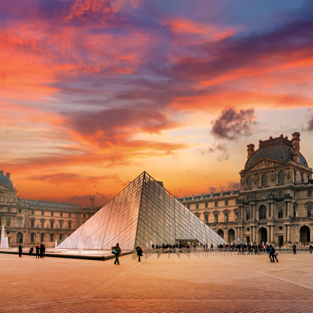 """View of famous Louvre Museum with Louvre Pyramid"" stock image"