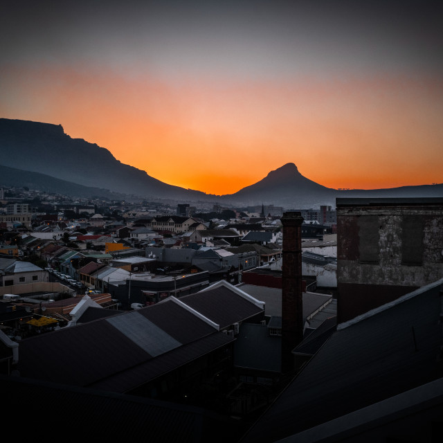 """My World - Cape Town - Table Mountain Sunset From Woodstock"" stock image"
