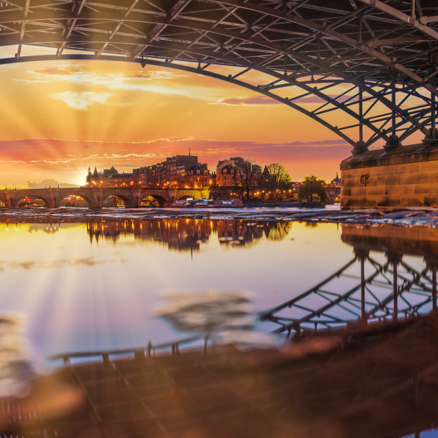 """River Seine with Pont des Arts and Institut de France at sunrise"" stock image"