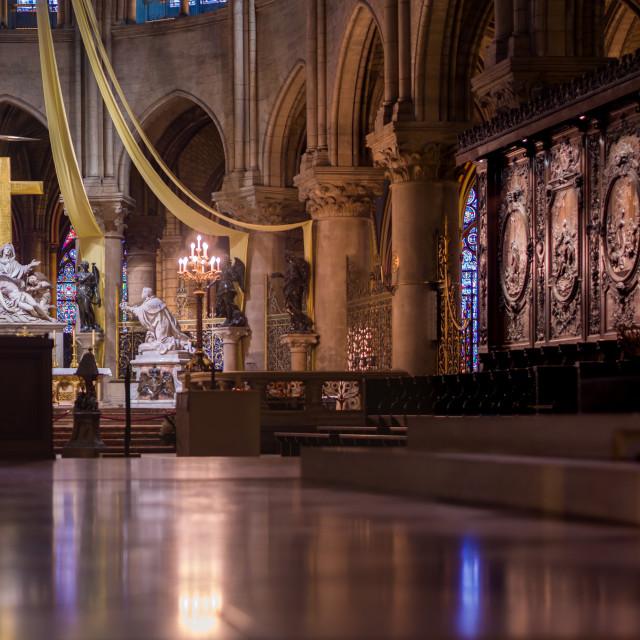"""""""Gothic interior of the Notre Dame de Paris Cathedral in Paris"""" stock image"""