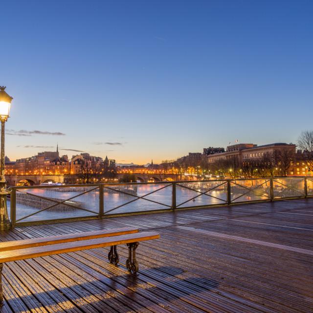 """River Seine with Pont des Arts at sunrise in Paris"" stock image"