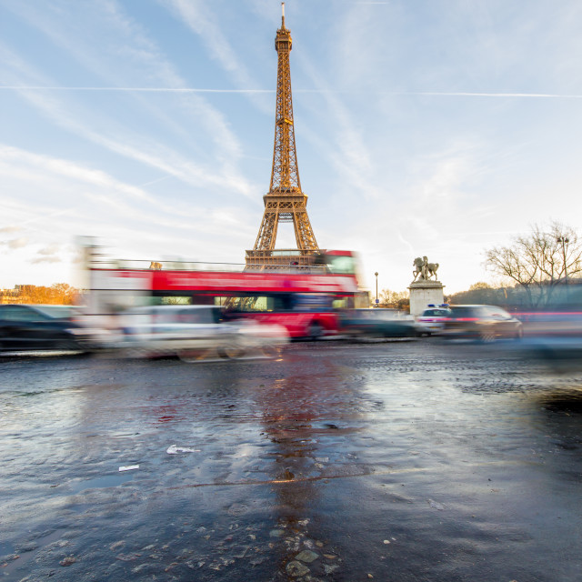 """""""View on the Eiffel tower from the Trocadero"""" stock image"""