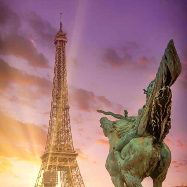 """Eiffel Tower from Bir-Hakeim metal bridge in the morning"" stock image"