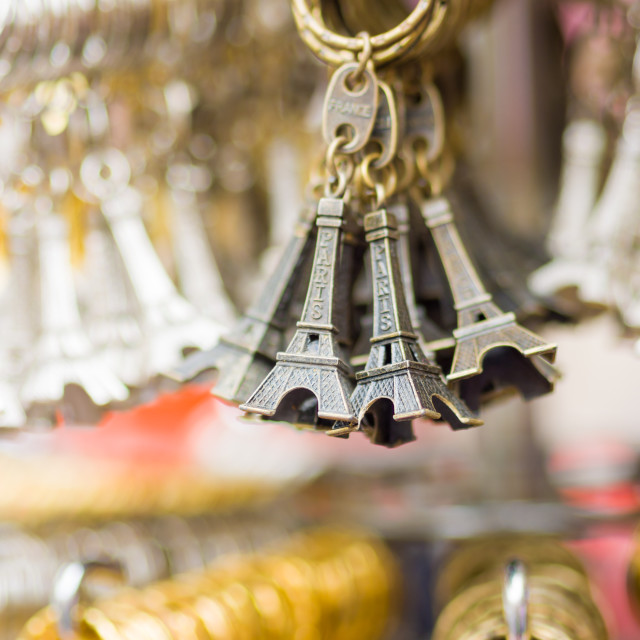 """""""Eiffel tower key chains at the shop in Paris"""" stock image"""
