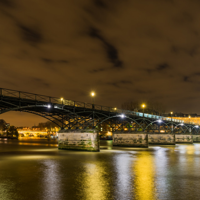 """""""Paris riverside at night"""" stock image"""