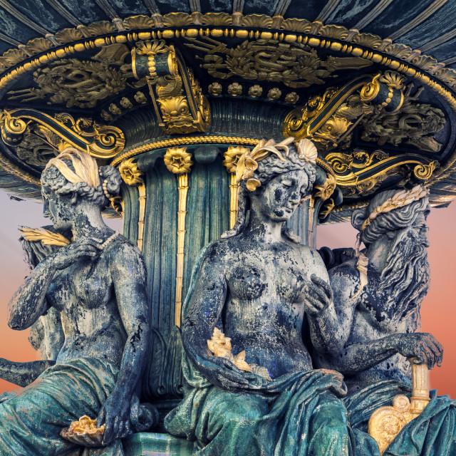 """Fountain at Place de la Concorde in Paris France"" stock image"