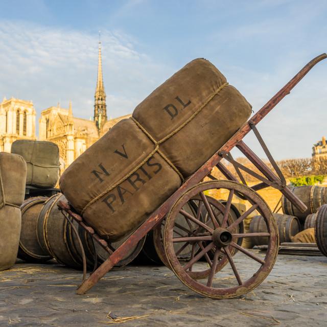 """Old Paris docks"" stock image"
