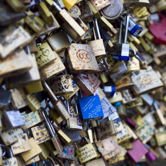 """Love locks in Paris bridge symbol of friendship and romance"" stock image"