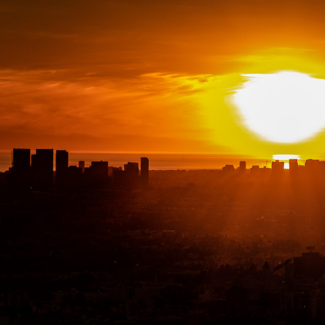 """My World - Sunset Over Downtown Los Angeles From The Griffith Observatory"" stock image"