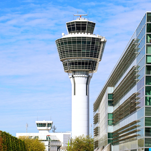"""Munich airport air traffic control tower"" stock image"