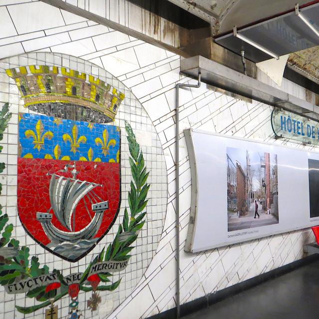 """Hotel-de-Ville Metro station in Paris"" stock image"
