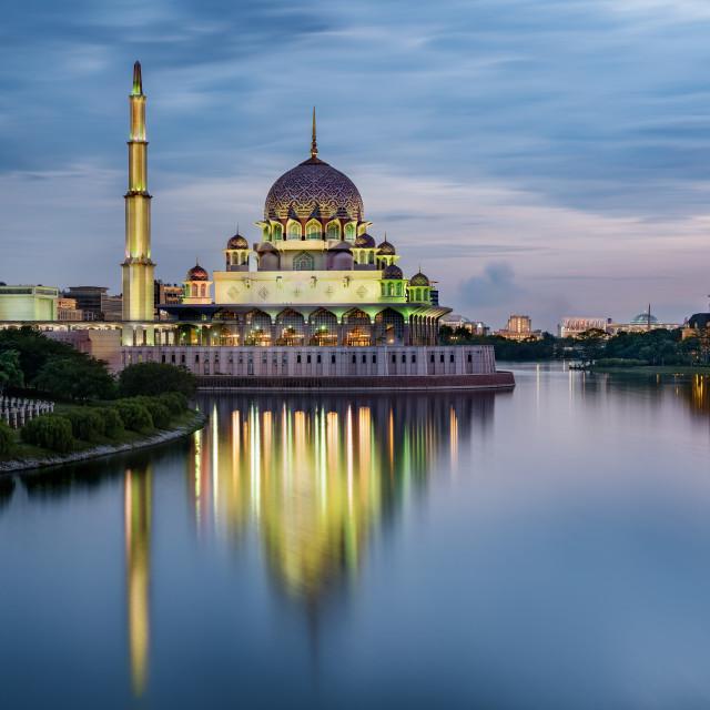 """The Putra Mosque (tha Pink Mosque) taken at dusk, Putrajaya, Kuala Lumpur, Malaysia"" stock image"