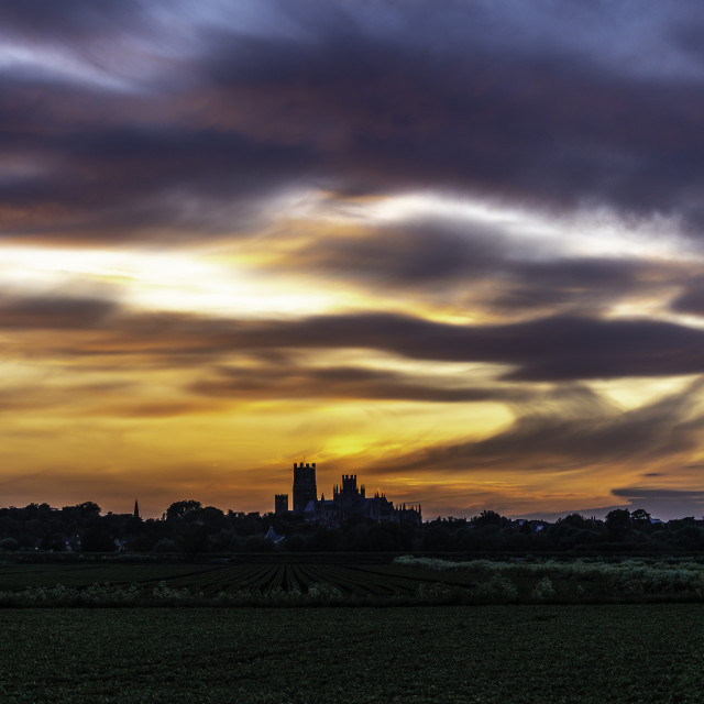 """""""Sunset behind Ely Cathedral, 8th June 2020"""" stock image"""