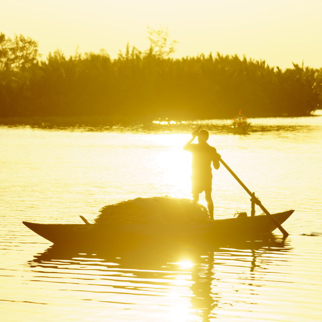 """""""Vietnamese woman rowing boat on river"""" stock image"""