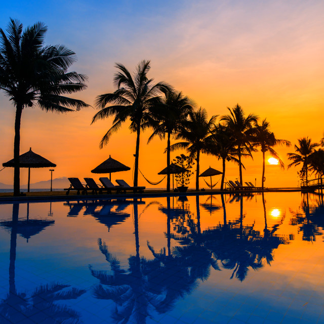 """""""Sunrise at the beach in Hoi An"""" stock image"""