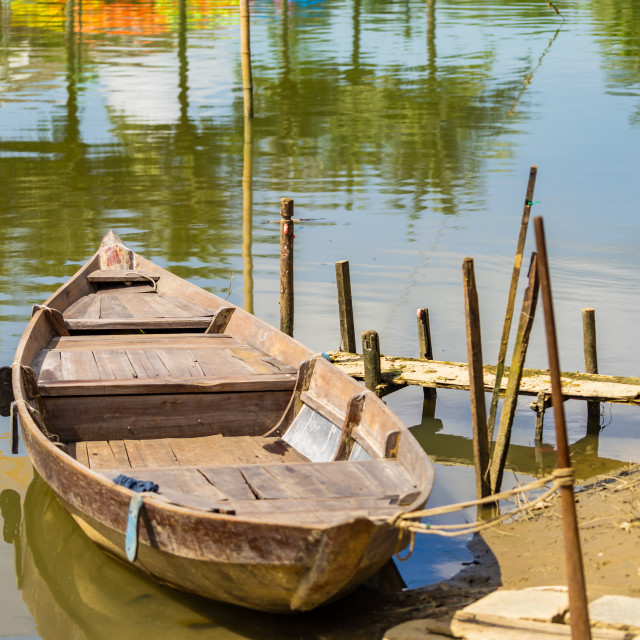 """""""Boat in the river in Hoi An"""" stock image"""