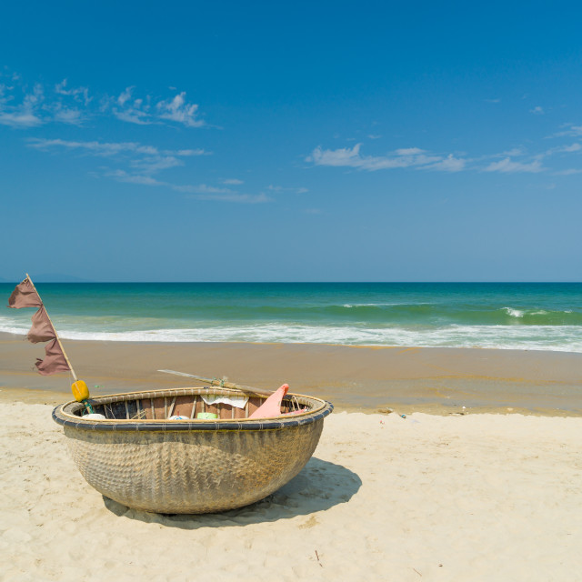 """""""Traditional fishing boat on the beach of Hoi An"""" stock image"""