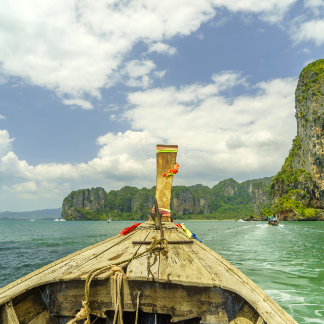 """Traditional long tail boat Krabi"" stock image"