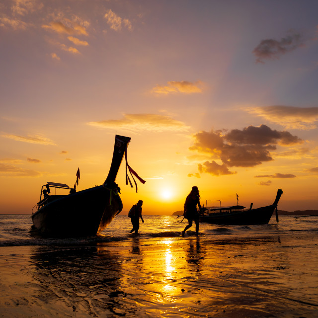 """Sunset in Ao Nang Krabi province"" stock image"