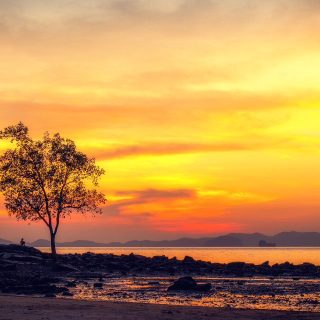 """Klong Muang beach on sunset Krabi province Thailand"" stock image"
