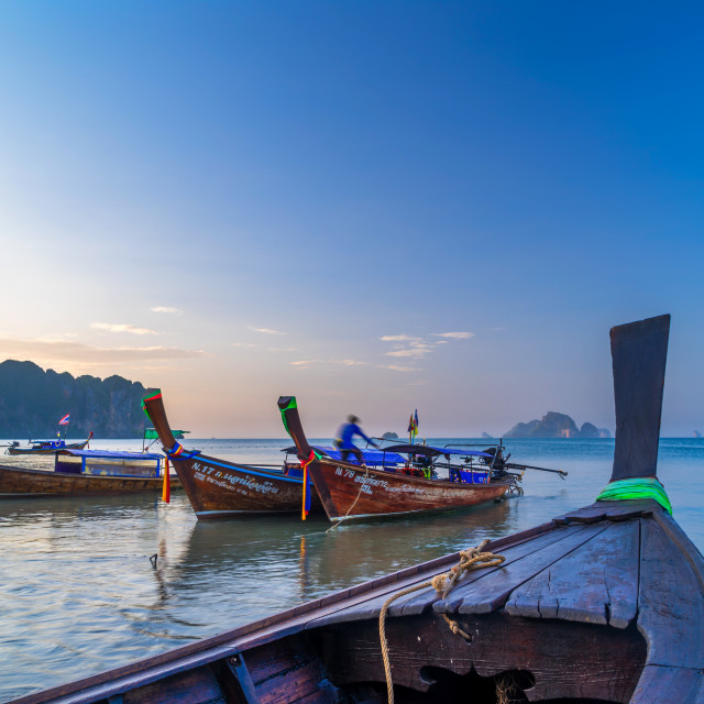 """Traditional long-tail boat on the beach in Thailand"" stock image"