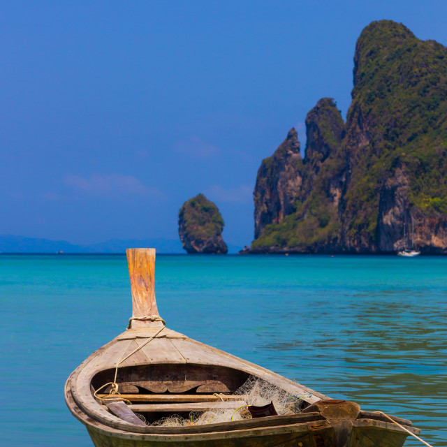 """Long boat and tropical beach, Andaman Sea,Phi Phi Islands"" stock image"