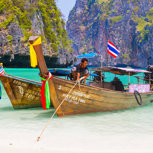 """Long tail boat to bring tourist to travel to beautiful Island i"" stock image"