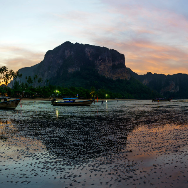 """The Ao Nang resort at sunrise"" stock image"