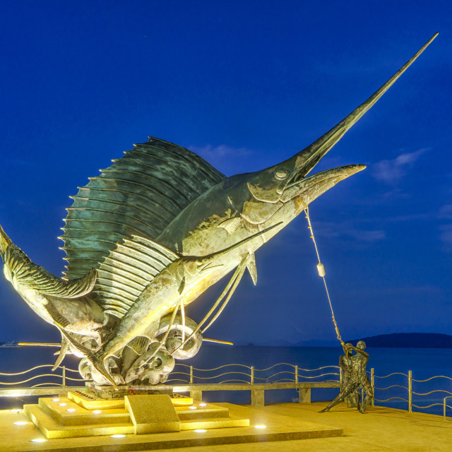 """The Sword Fish Sculpture adorning the beach in Ao Nang"" stock image"
