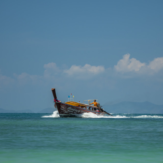 """Traditional long tail boat on Ao Nang beach in Krabi Thailand"" stock image"