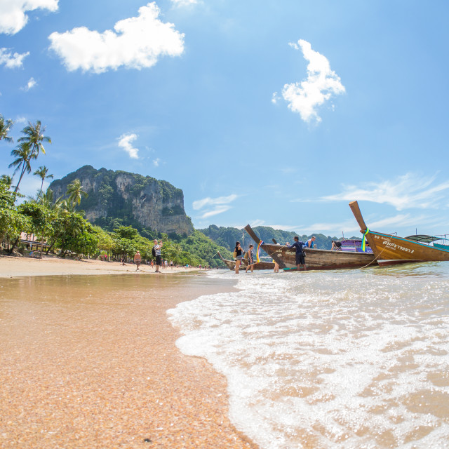 """KRABI,THAILAND - DEC 6 2015 The beach AO Nang beach one of the m"" stock image"