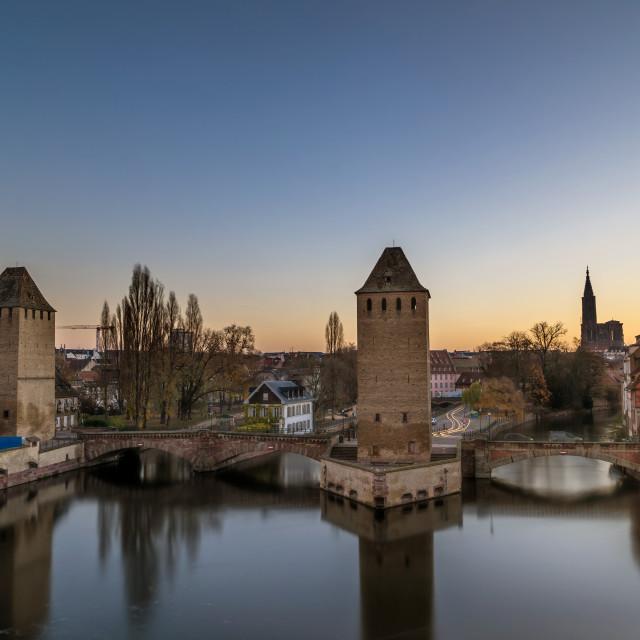 """Strasbourg, medieval bridge Ponts Couverts"" stock image"