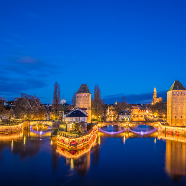 """""""Tourist area """"Petite France"""" in Strasbourg, France and covered b"""" stock image"""
