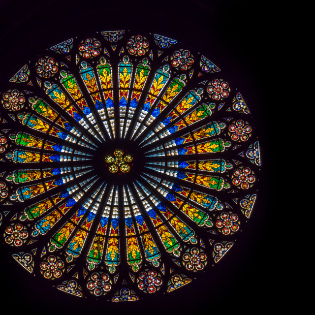 """Rose window of Notre dame de Strasbourg in Alsace"" stock image"