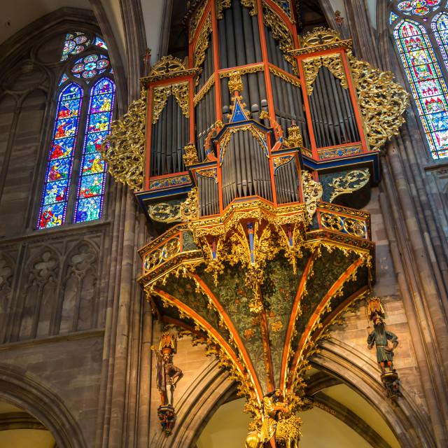 """Organ of in Notre Dame de Strasbourg in Alsace"" stock image"