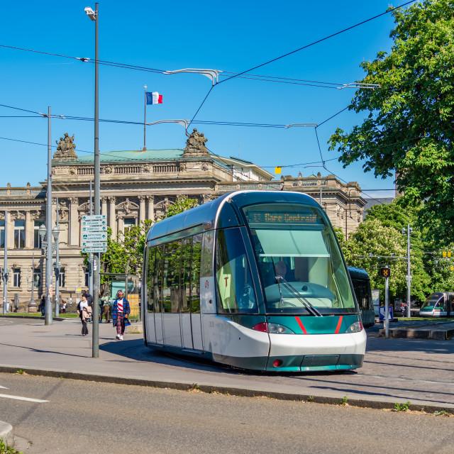 """""""Tram in Strasbourg France"""" stock image"""