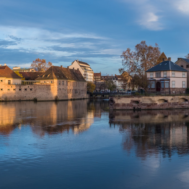 """""""Ponts Couverts from the Barrage Vauban in Strasbourg France"""" stock image"""