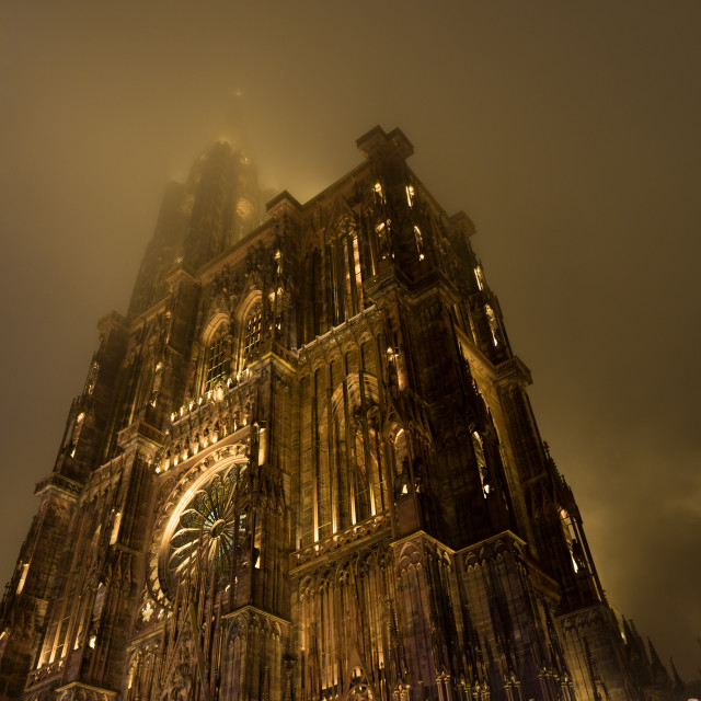 """""""Cathedral of Notre-Dame in Strasbourg in the fog"""" stock image"""