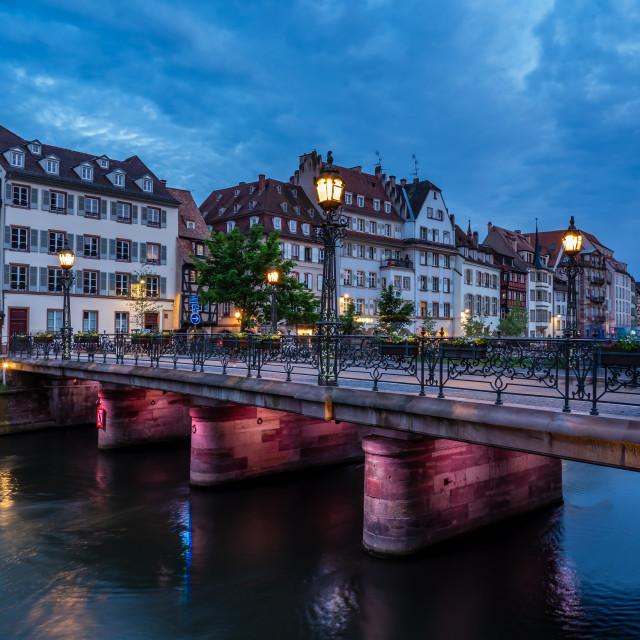 """Quai des Bateliers in Strasbourg France"" stock image"