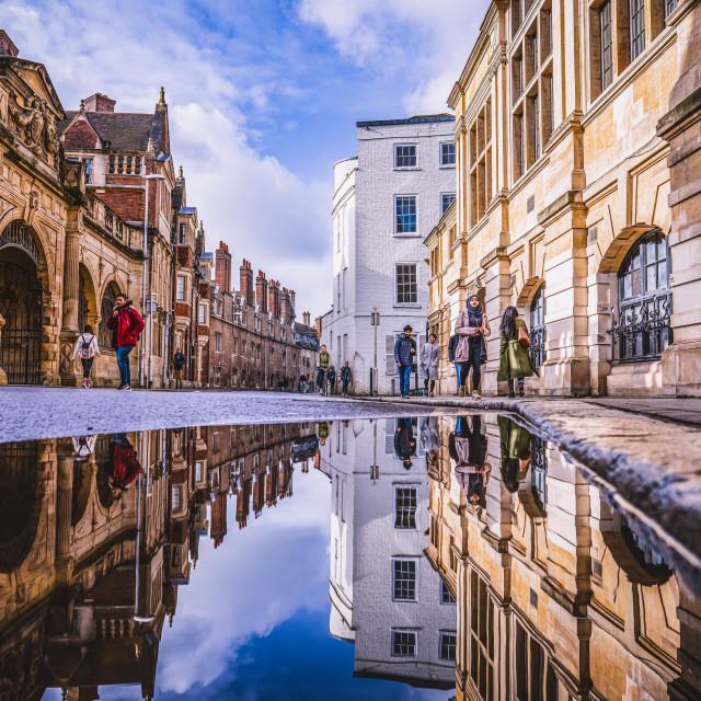 """Reflections from Pembroke Street, Cambridge UK."" stock image"