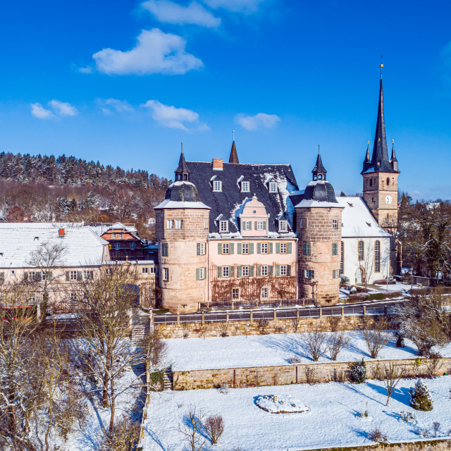 """Air view of Ahorn castle"" stock image"