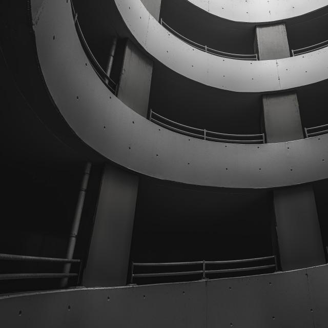 """Underground parking lot. Modern concrete building"" stock image"