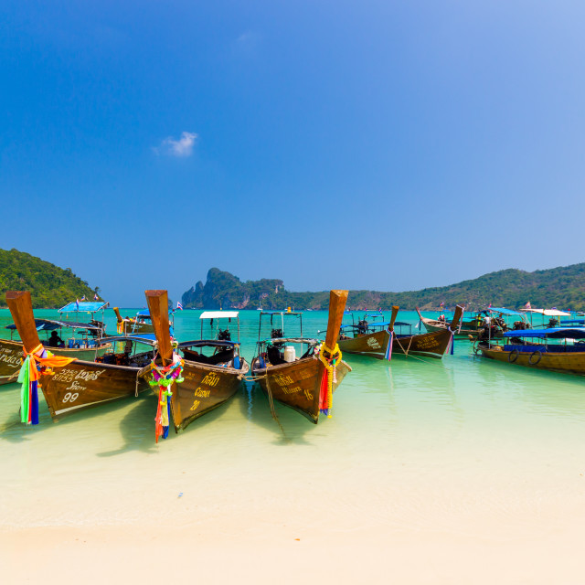 """""""Long tail boat to bring tourist to travel to beautiful Island i"""" stock image"""