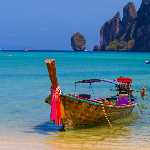 """Long boat and tropical beach, Andaman Sea,Phi Phi Islands"" stock image"